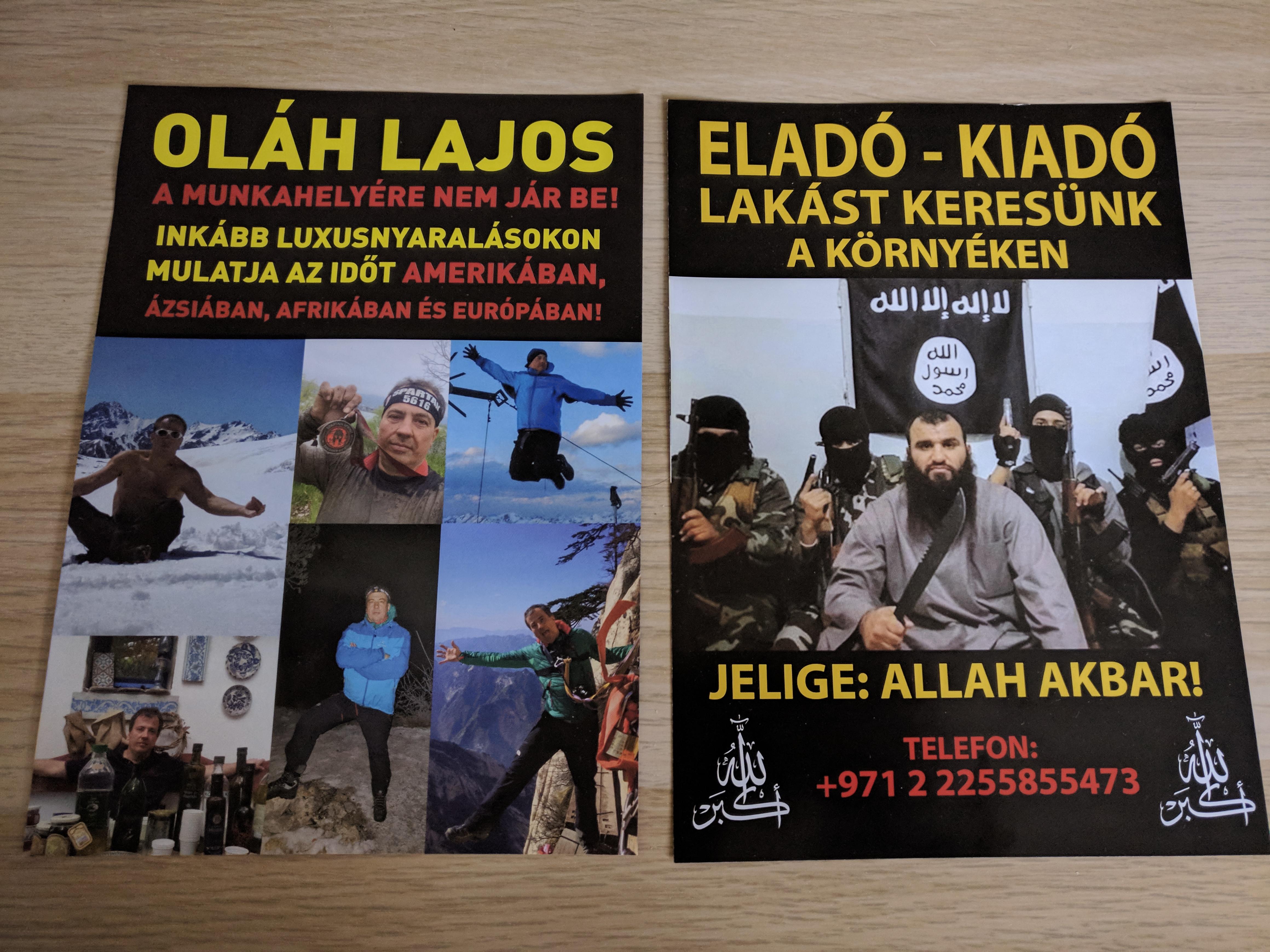 """Az """"ISIS lakáskereső szórólapjaihoz"""" hasonló szórólappal kampányolnak az Orbán család ügyvédjének kihívója ellen"""
