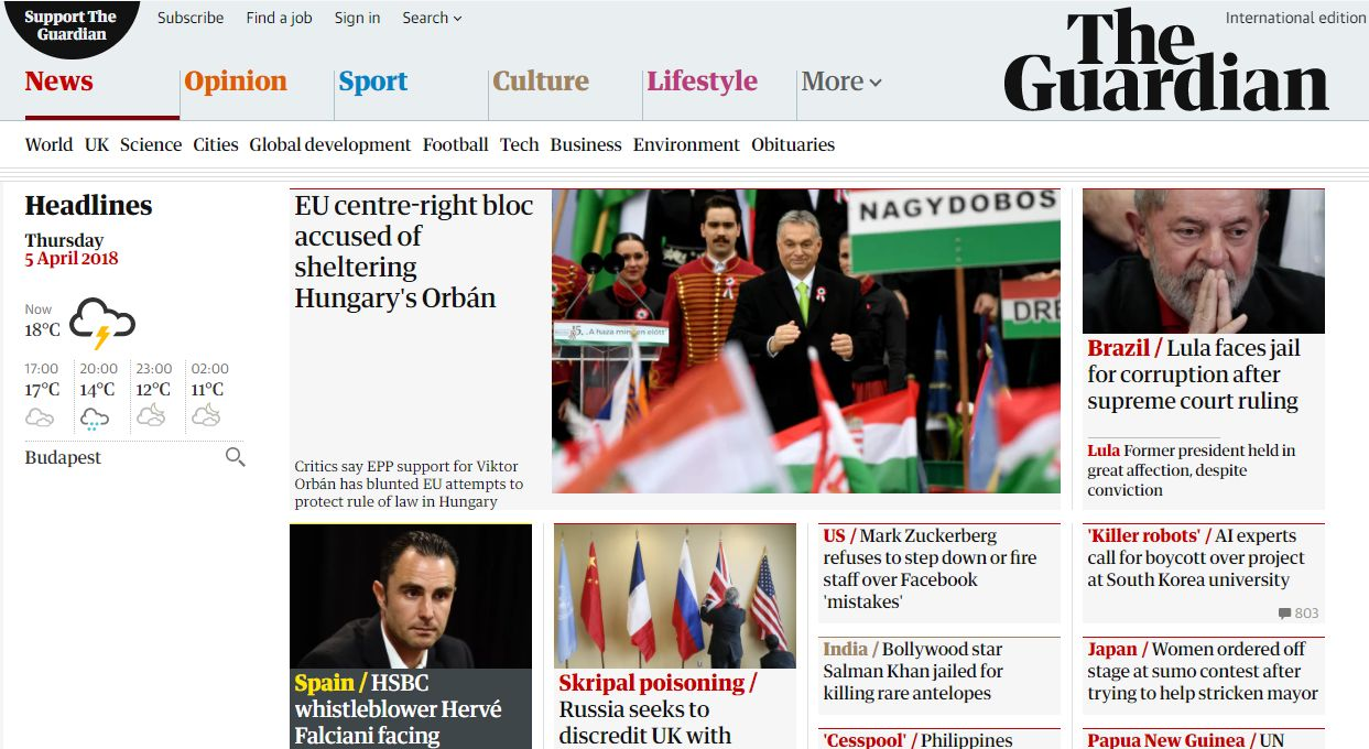 Az Orbánt védő Európai Néppártról ír vezető anyagában a Guardian