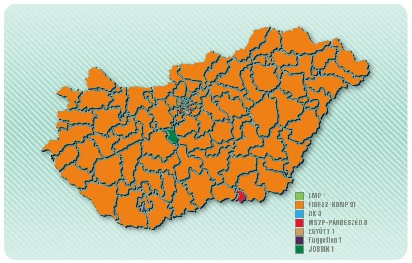 Magyarország térképe a jelenlegi állás szerint