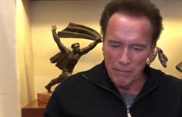 Vajon mit keres Schwarzenegger mögött a Tanácsköztársaság emlékművének kisplasztikája?