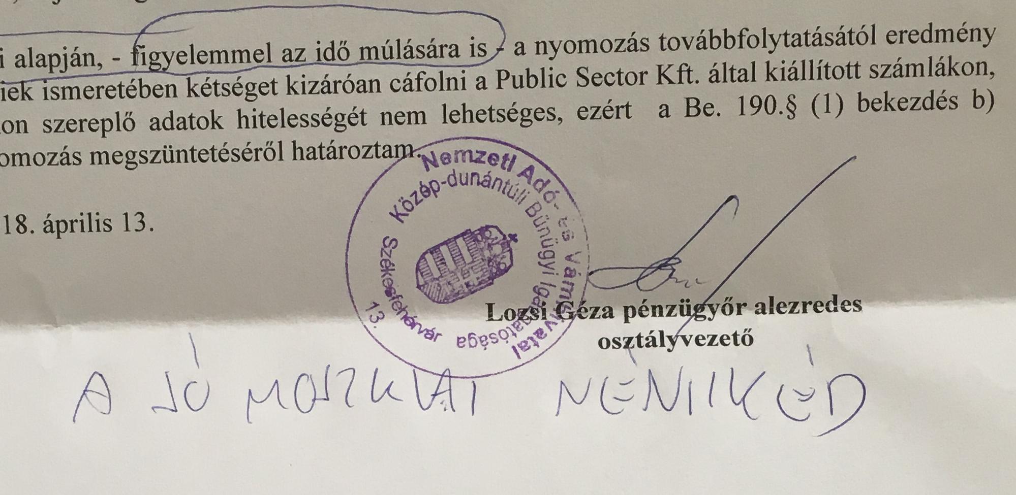 A NAV leírta, hogy milyen szemérmetlen költségvetési csalást követtek el Cecén és Lajoskomáromban, majd azzal a svunggal megszüntette a nyomozást