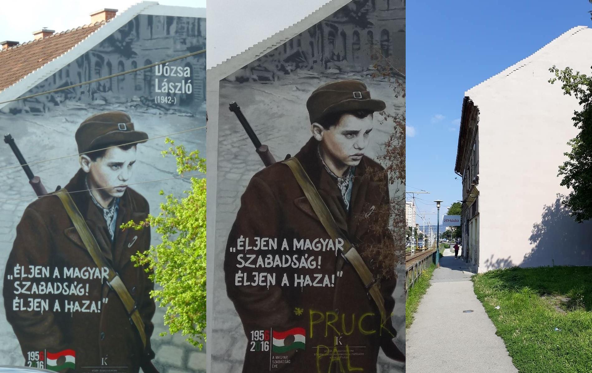 Ilyen a világon nincs: ahelyett, hogy odaírták volna Pruck Pál nevét az őt ábrázoló falfestményre, inkább lefestették az egészet