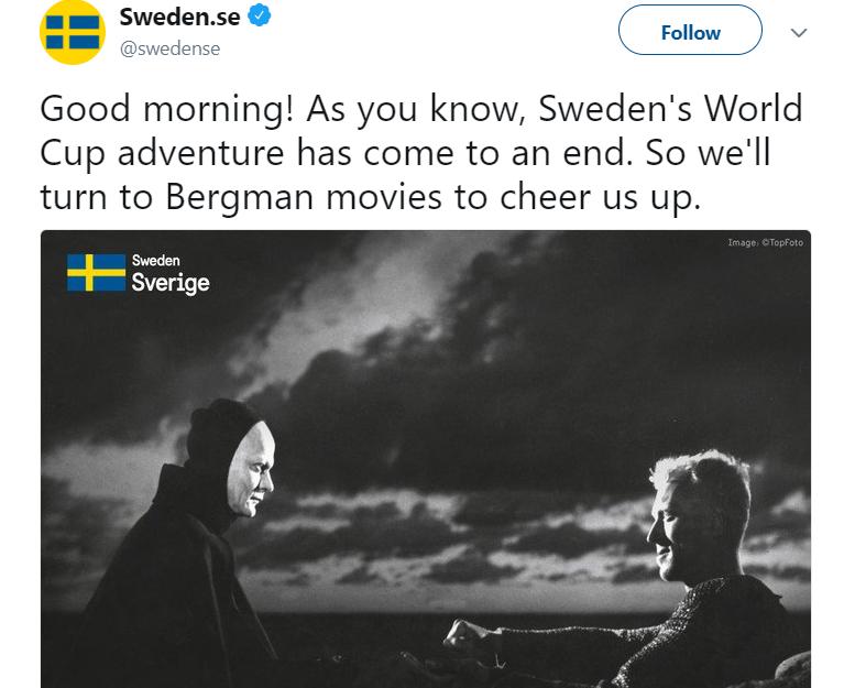 Svéd állami Twitter: Kiestünk, úgyhogy dobjuk fel magunkat egy Halálról szóló Bergman filmmel