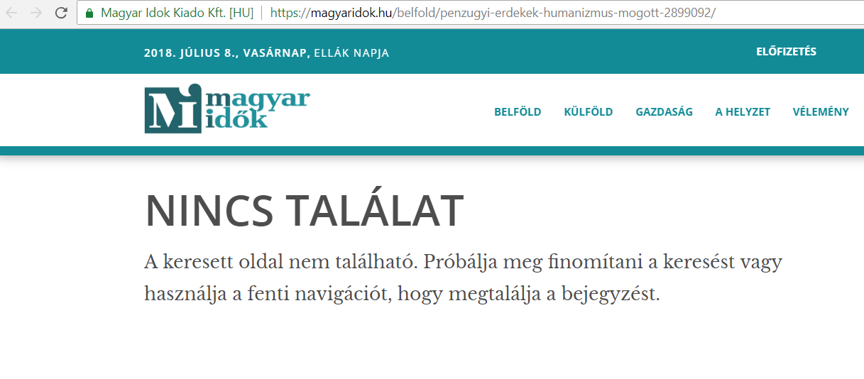Leszedték a Magyar Idők oldaláról a lejárató cikkeket, amiket az izraeli Black Cube készíthetett nekik