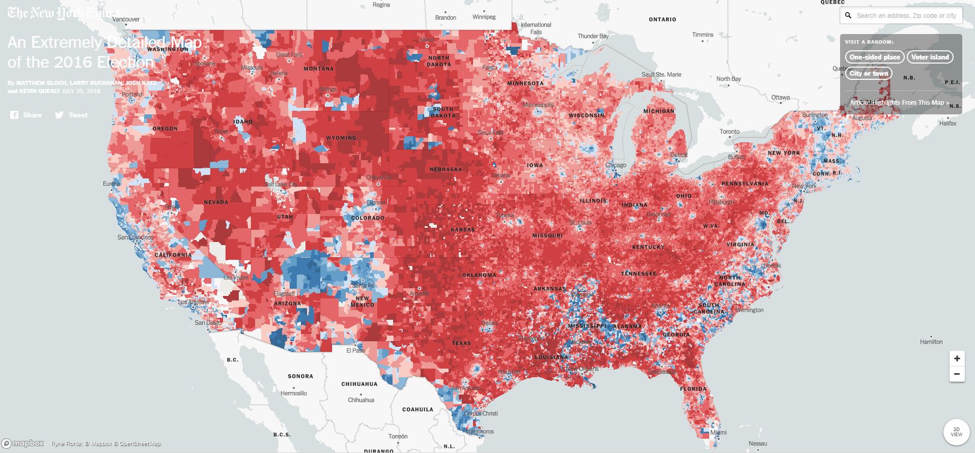 Szinte háztömbre pontosan meg lehet nézni, hogy szavaztak az amerikaiak az elnökválasztáson