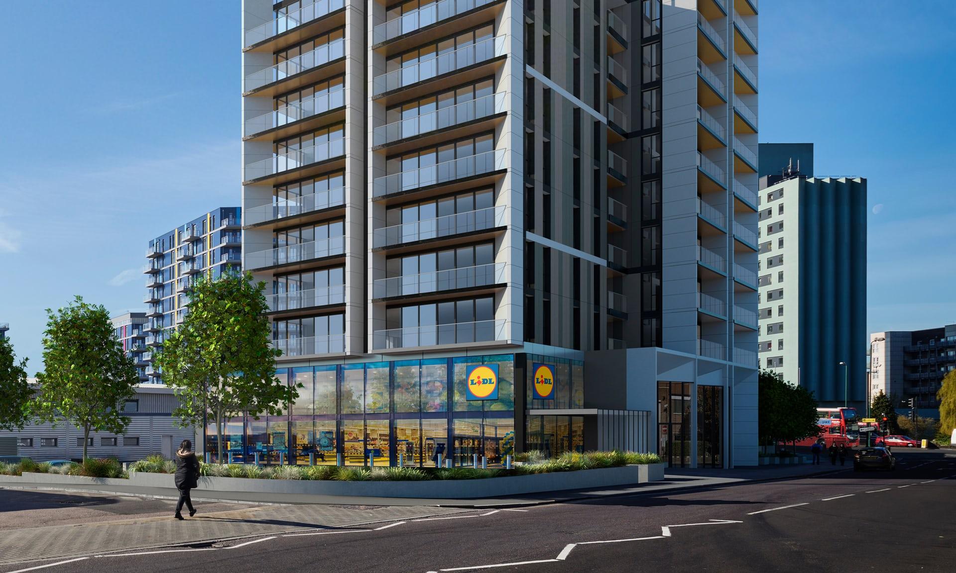 Angliában már lakásokat építenek a szupermarketláncok, hogy engedélyt kaphassanak új boltjaik megnyitására