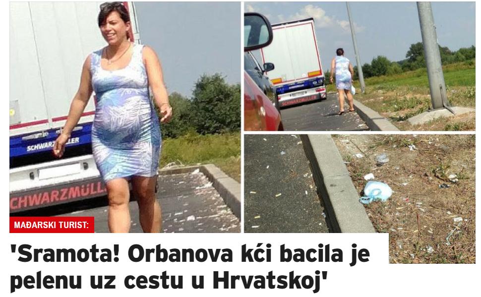 Horvát lapok címlapon számolnak be Orbán Ráhel szemeteléséről