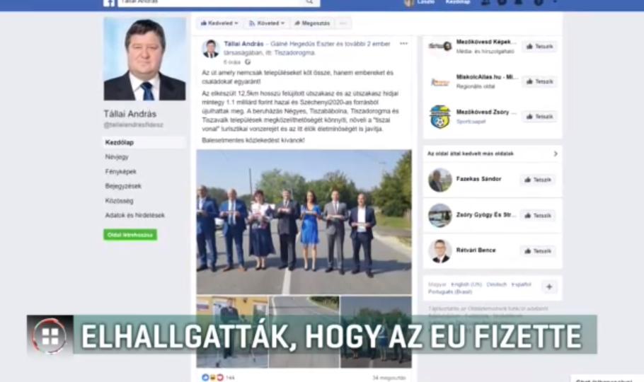 Tállai András még a kommenteket is törli a Facebookról, ha azokban leírják, hogy EU-s pénzből épült, amit épp átadott