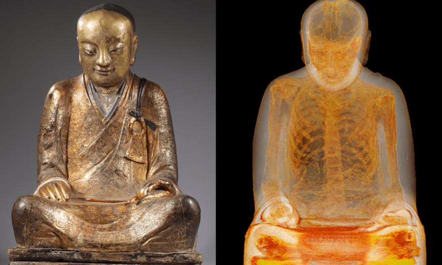 Budapesten akadtak rá a kínai falu lakói a szent szobrukra, melyben egy ezer éve meghalt szerzetes maradványai lapulnak