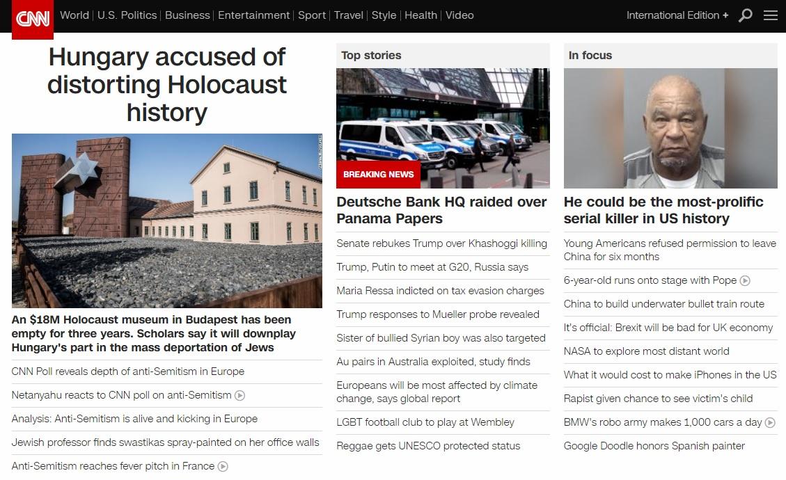 CNN: Magyarországot a holokauszt történelmének eltorzításával vádolják