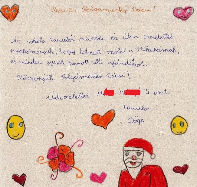 A hálás iskolások a kedves polgármester bácsinak köszönték meg levélben a Mikulástól kapott ajándékokat