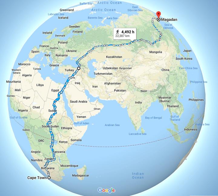Valószínűleg ez a leghosszabb, megszakítás nélkül lesétálható útvonal a bolygón