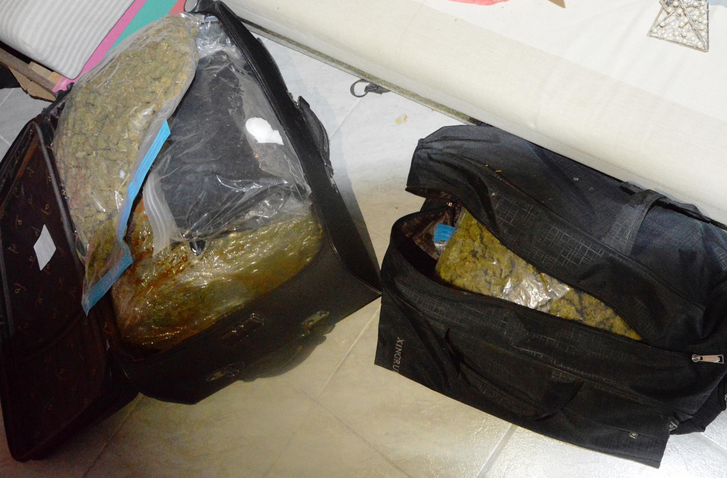 60 ezer adagos drogfogás: 2 bőröndnyi fű, 1 kiló kokain, 3 kiló amfetamin és 2000 eki