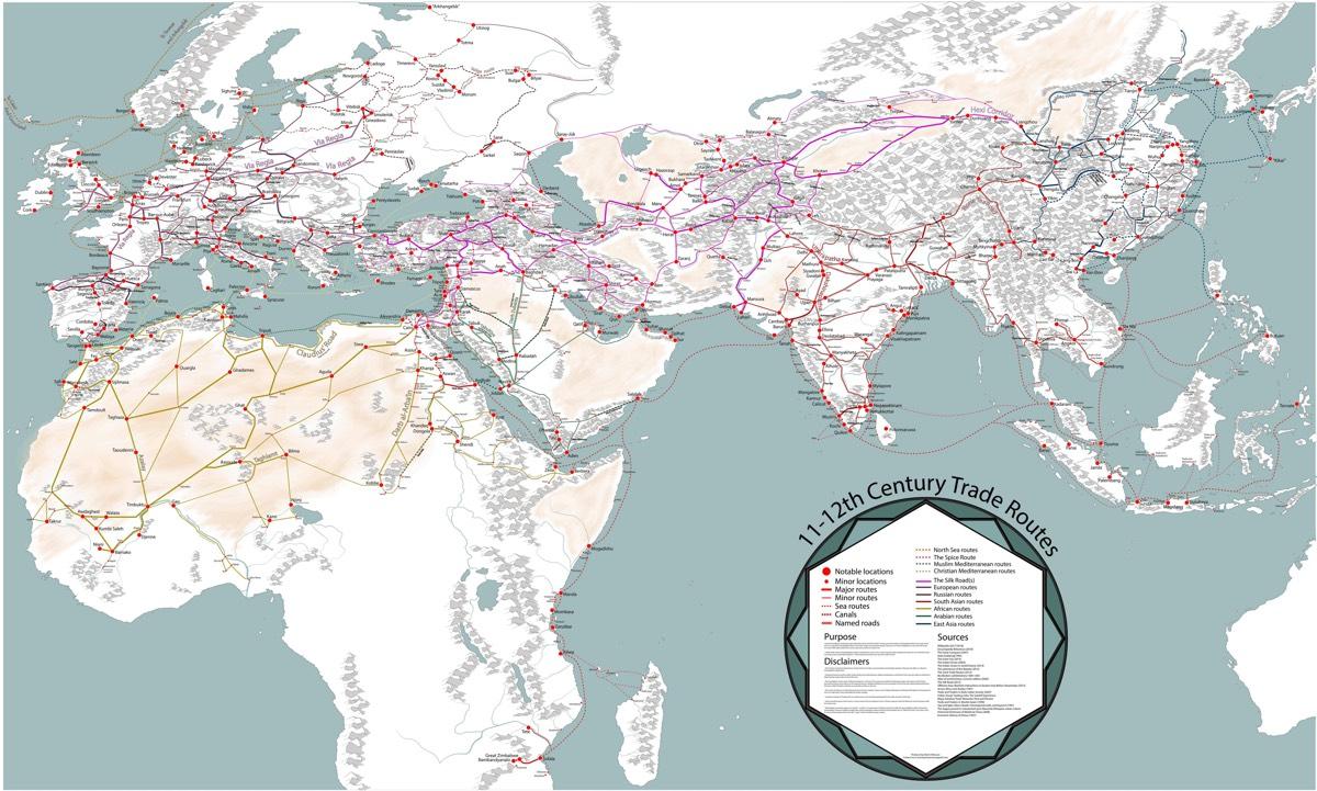 Itt egy remek térkép, melyen a 11. és 12. századi kereskedelmi útvonalakat lehet böngészni