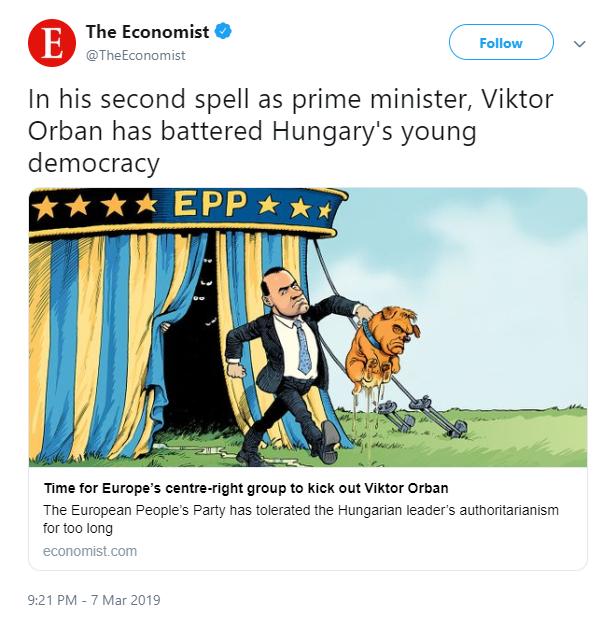 Maga alá pisilő kutyaként rajzolta meg Orbánt az Economist karikaturistája