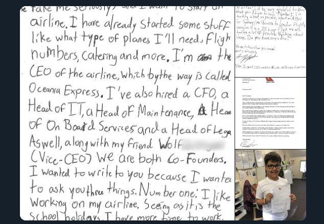 Hivatalos levélben válaszolt a Qantas vezérigazgatója egy szakmai segítséget kérő tízévesnek