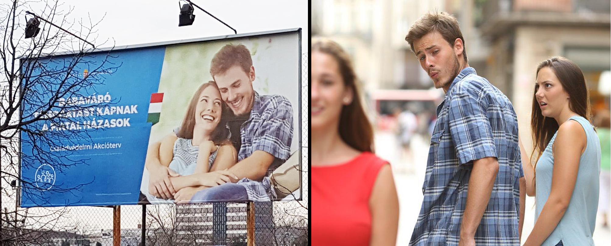 A világhírű félrenézős mémpár kerülhetett a kormány családtámogatási plakátjára