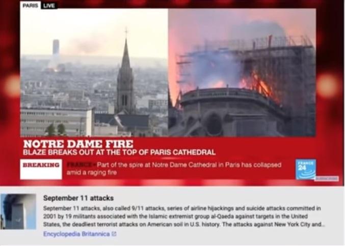 A Youtube a szeptember 11-i terrortámadással kötötte össze a Notre Dame leégését