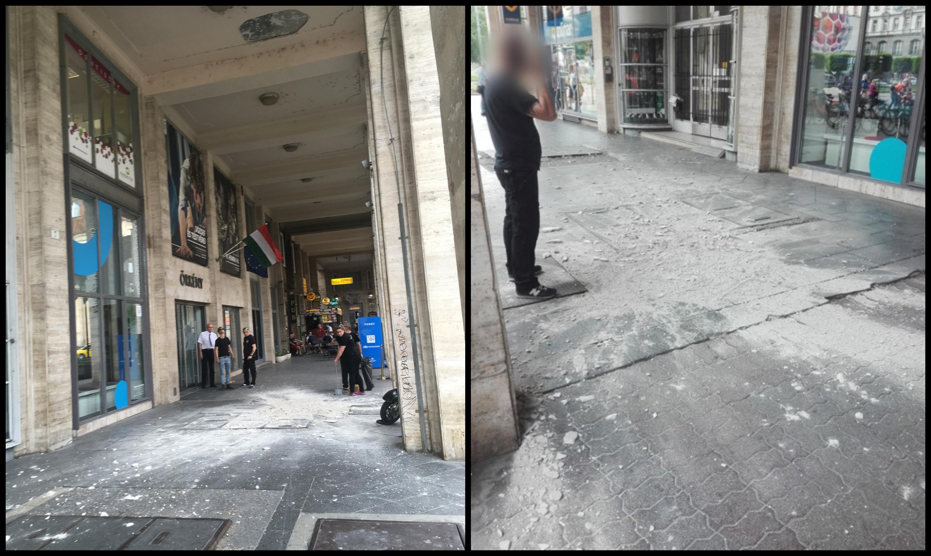 Rászakadt a plafon a Madách térre
