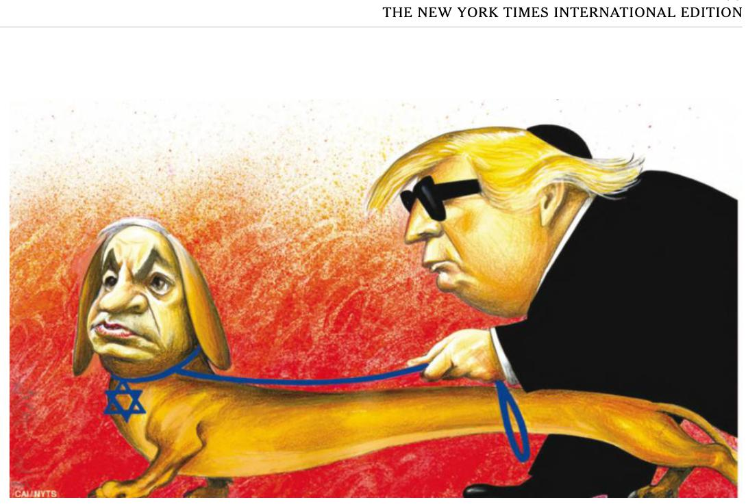 Sokan antiszemitának tartották a New York Times karikatúráját, ami vakvezető kutyaként ábrázolta Netanjahut, erre bocsánatot kértek és leszedték