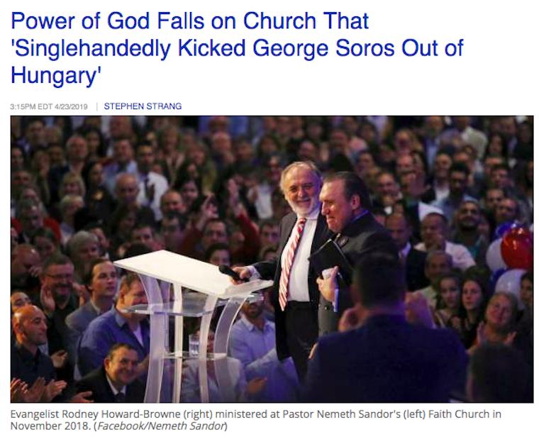Egy amerikai prédikátor szerint azzal dicsekedett neki a Hit Gyülekezetének vezetője, hogy egymaga üldözte ki Soros Györgyöt Magyarországról, aki ezért rászállt