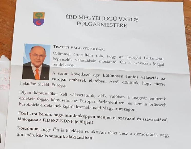 Büszke rá az érdi polgármester, hogy a város pénzén kampányolt a Fidesznek
