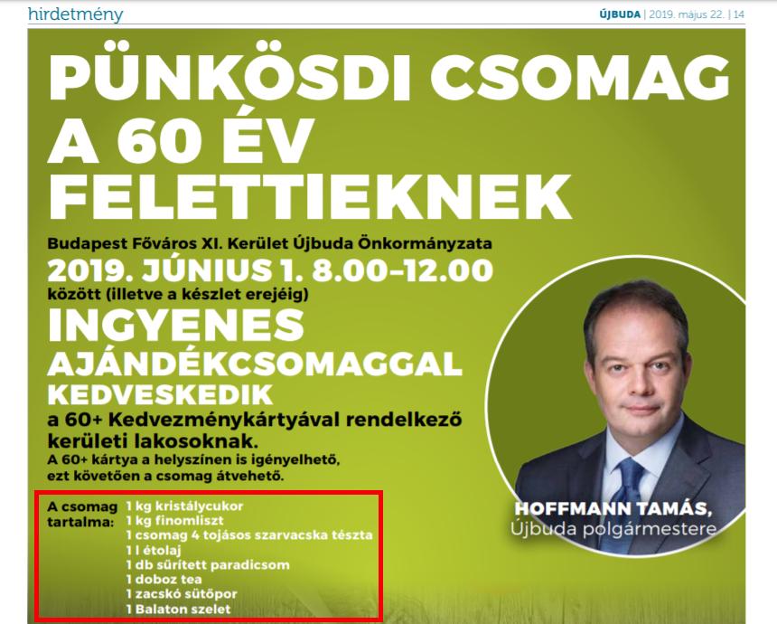 A fideszes polgármester pünkösdi csomaggal kedveskedik a 60 év feletti újbudaiaknak