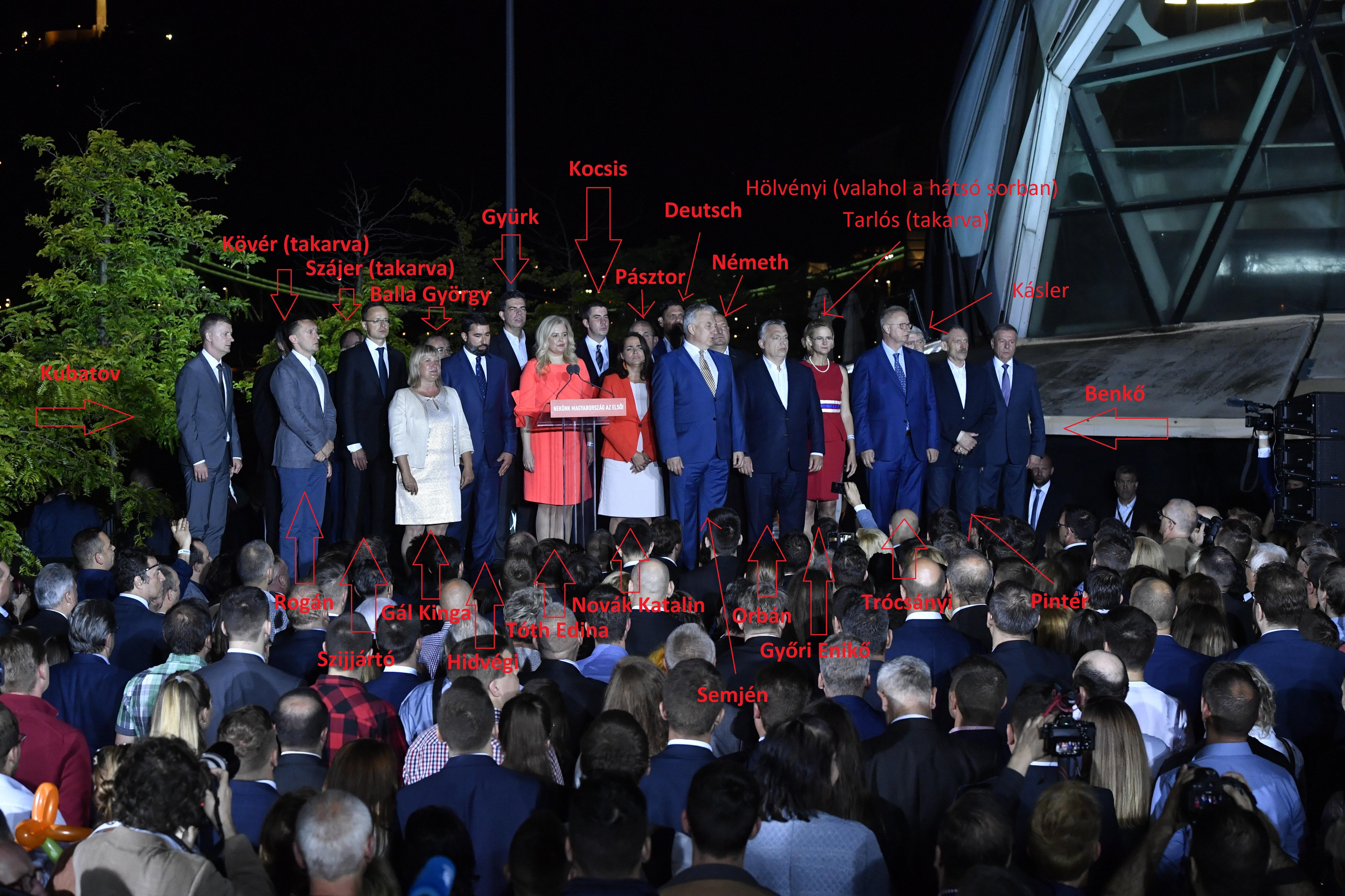 Soha nem voltak még ennyien a Fidesz győzelmi színpadán, mégis lemaradt több állandó szereplő