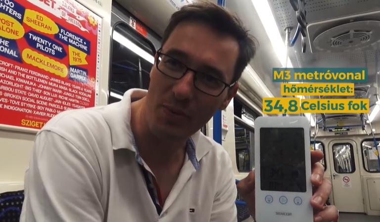34,8 fokot mért a felújított hármas metróban Karácsony Gergely