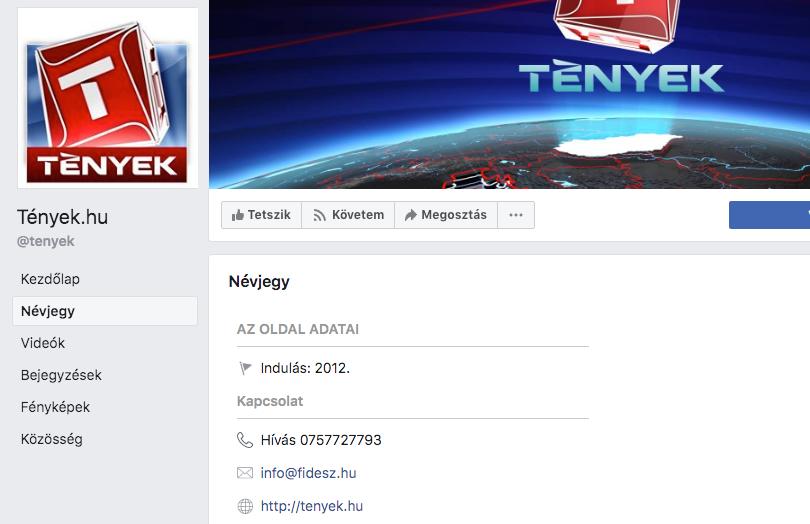 Valamiért a Fidesz emailcíme volt megadva a Tények oldalán