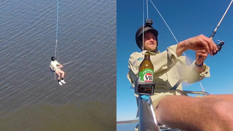 Egy ausztrál férfi egy drónon lógva horgászott