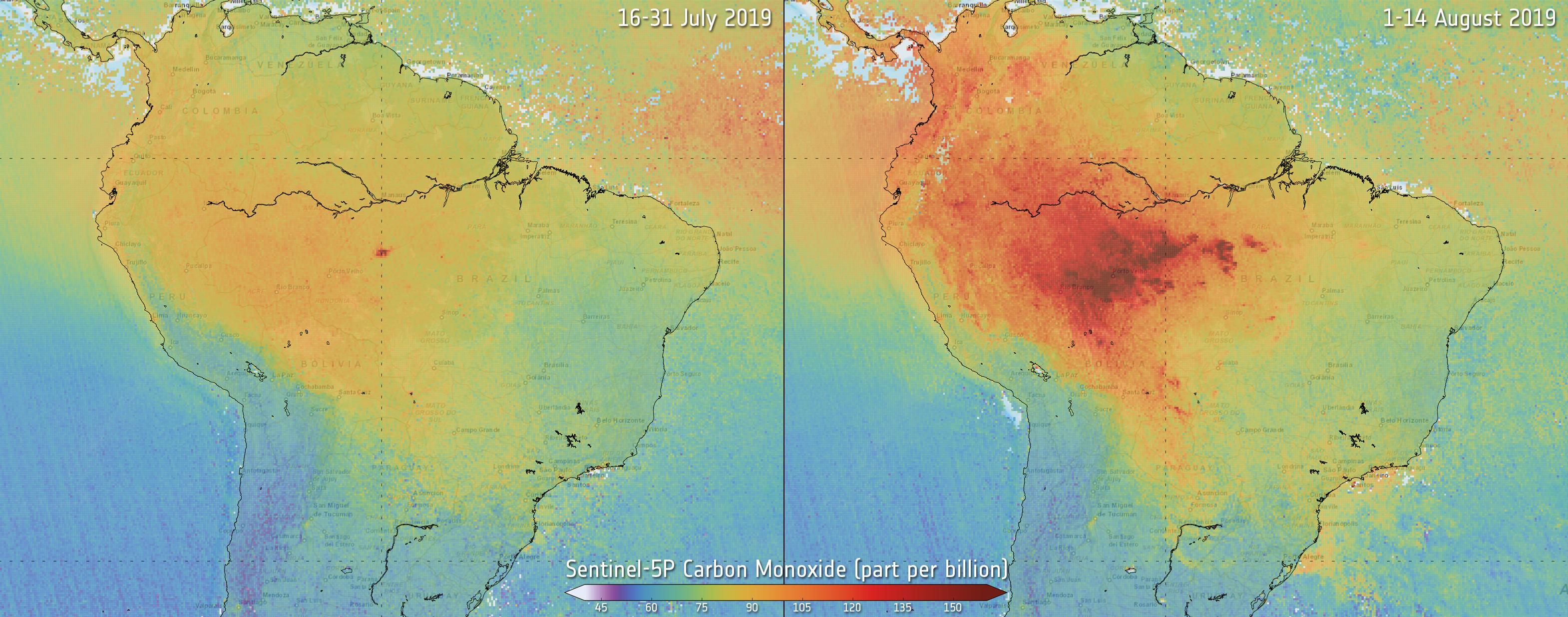 Műholdas felvételeken látszik, hogy nőtt az amazonasi erdőtüzek okozta légszennyezettség