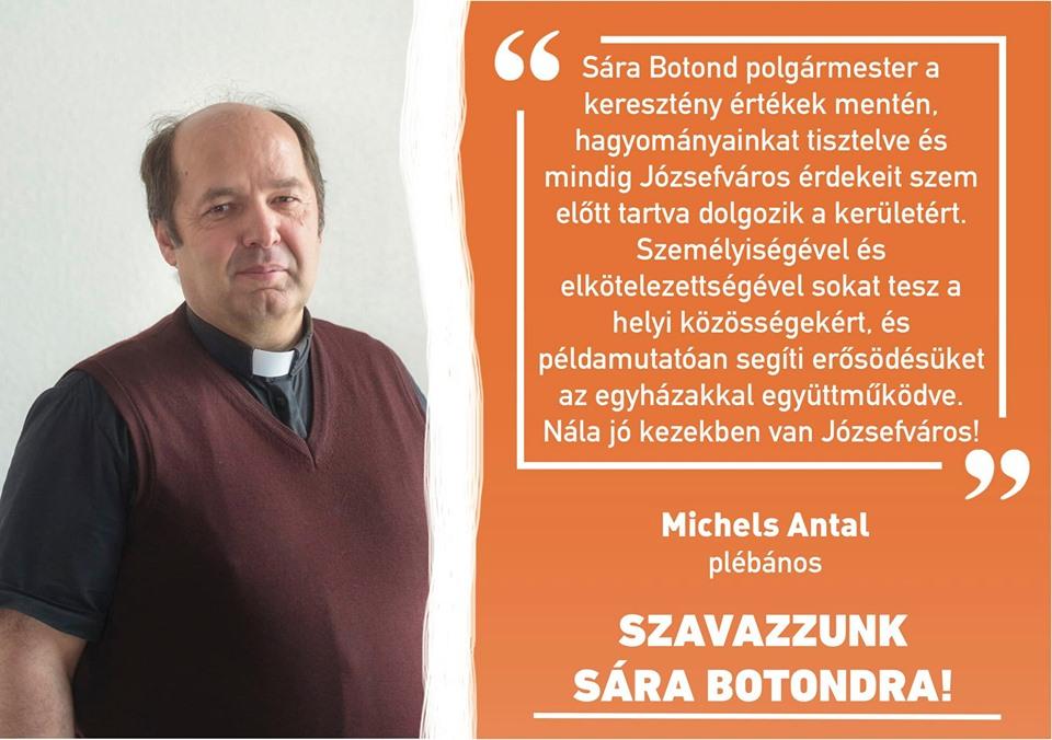 A fideszes polgármesterre való szavazásra buzdít a józsefvárosi plébános