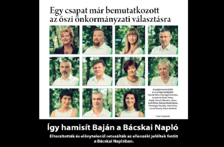 Nagyorrúra, barna bőrűre és bandzsára photoshopolta a bajai önkormányzati lap az ellenzéki képviselők arcát (frissítve!)