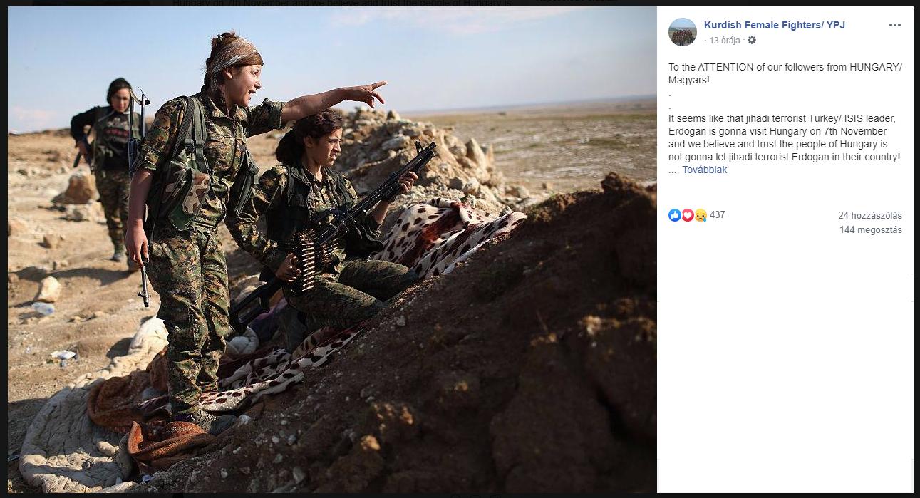 Magyaroknak üzen a harcoló kurd nők Facebook oldala Erdogan török elnök budapesti látogatása miatt