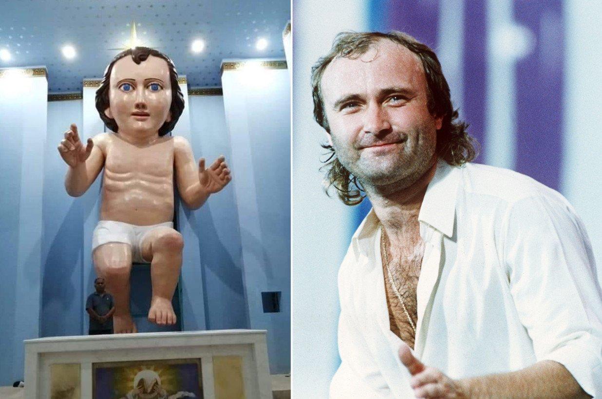 A világ valószínűleg legnagyobb, hatméteres Kisjézus-szobra inkább Phil Collins-szobornak tűnik