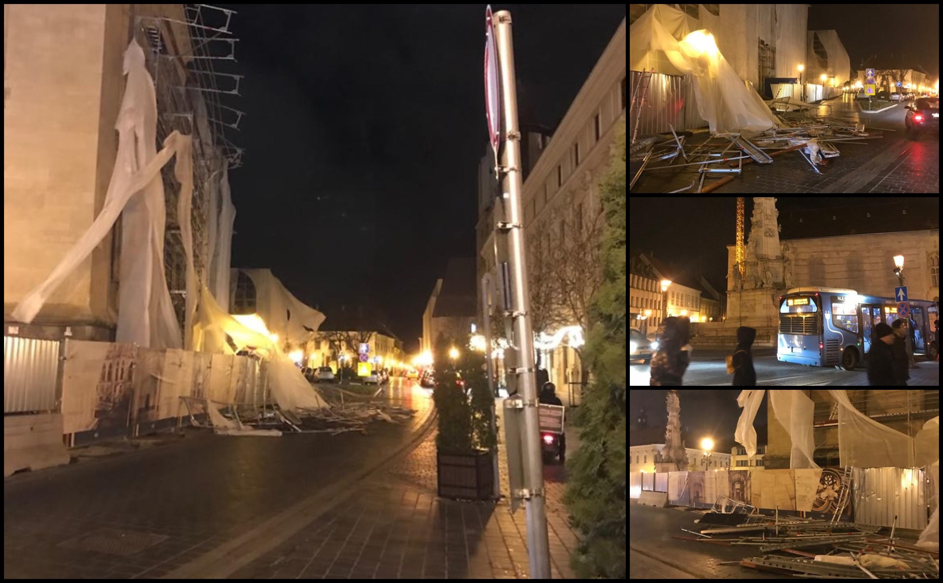 Fémlapok estek a járdára a Pénzügyminisztérium új épületének állványzatáról