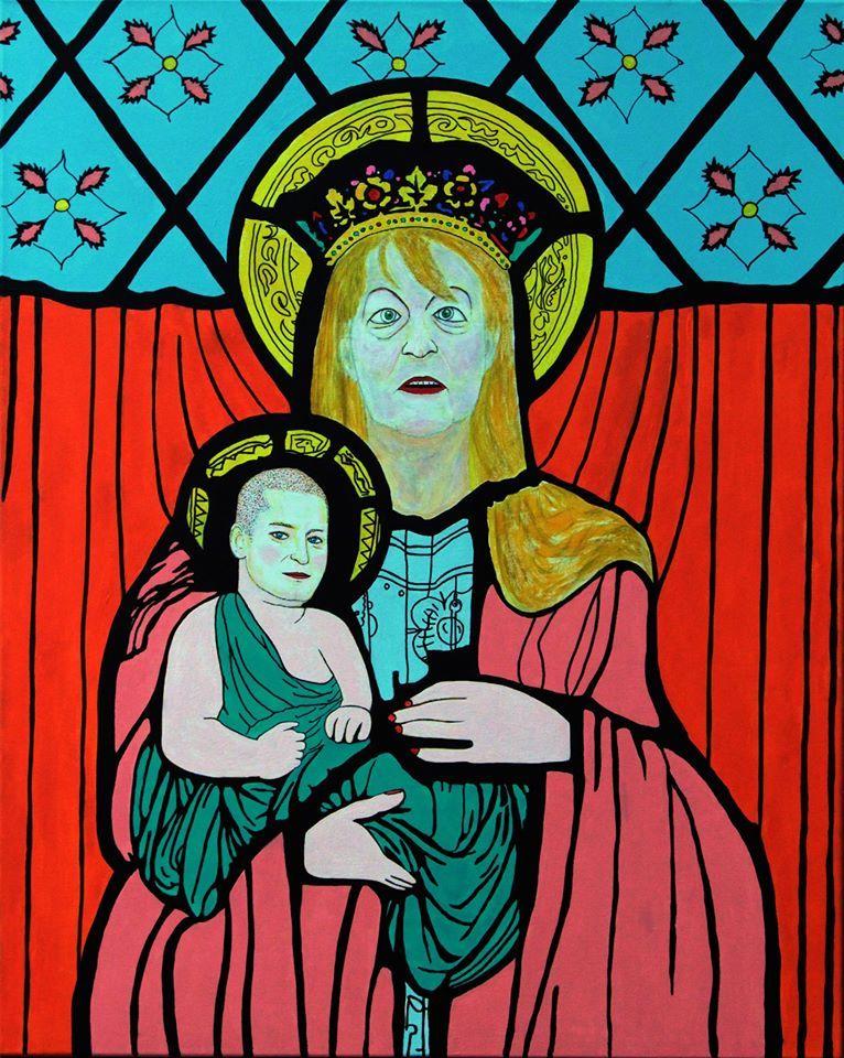 Pompásan sikerült Dr Máriás festménye Schmidt Szűz Máriáról és a kisded Ungár Péterről