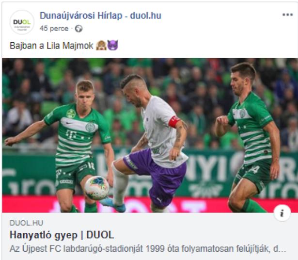 Lehet még szórakoztatóbb a magyar foci: a kormánypárti médiaalapítvány lapja lilamajmozza az újpestieket