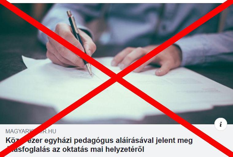 A Magyar Kurír még aznap este törölte cikkét az egyházi iskolák tanárainak állásfoglalásáról