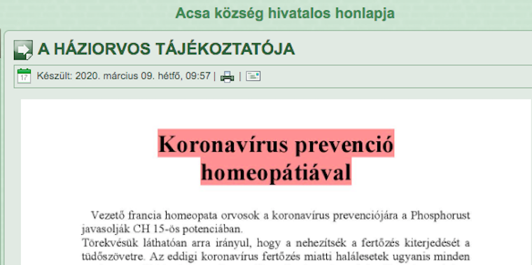 A háziorvos homeopátiás védekezést ajánl a koronavírus ellen Acsa község hivatalos honlapján