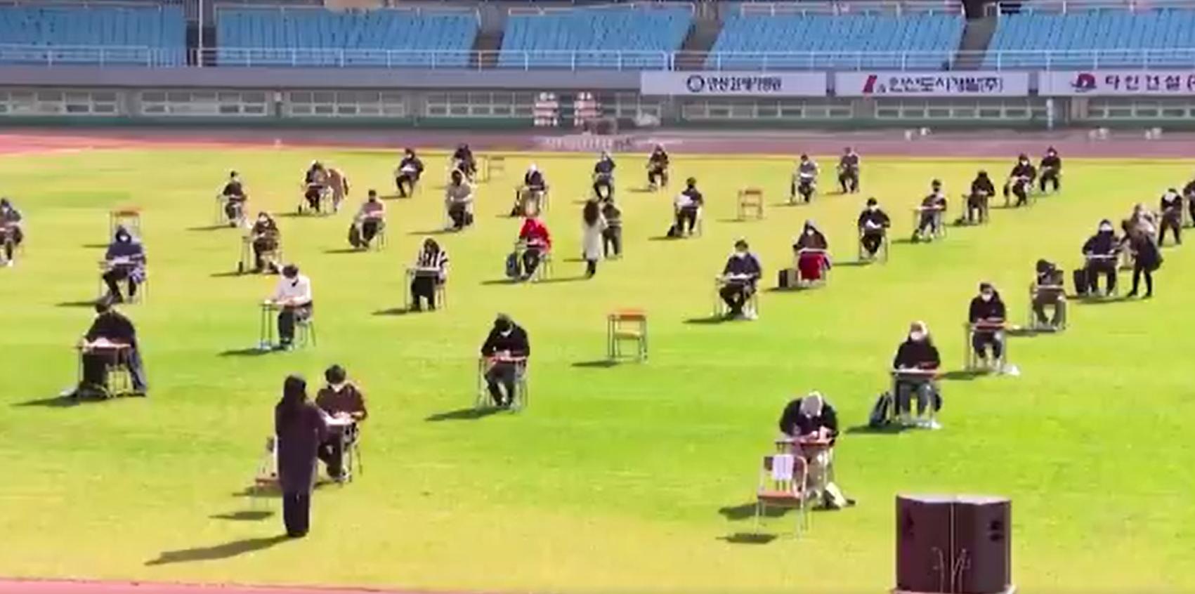 A távolságtartás jegyében stadionban vizsgáztak a dél-koreaiak