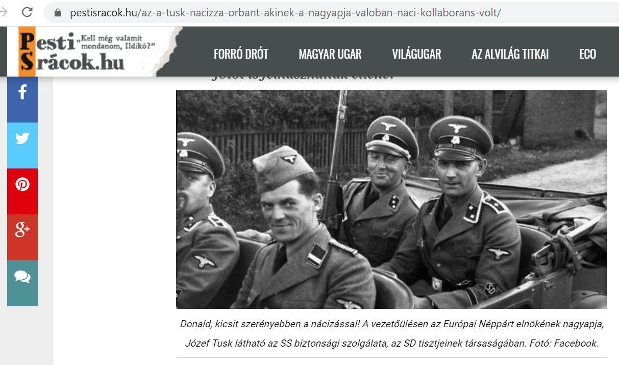 Tusk beszólt Orbánnak, erre a kormánymédia odaírta egy nácikat ábrázoló fotó alá, hogy azon a nagyapja látható