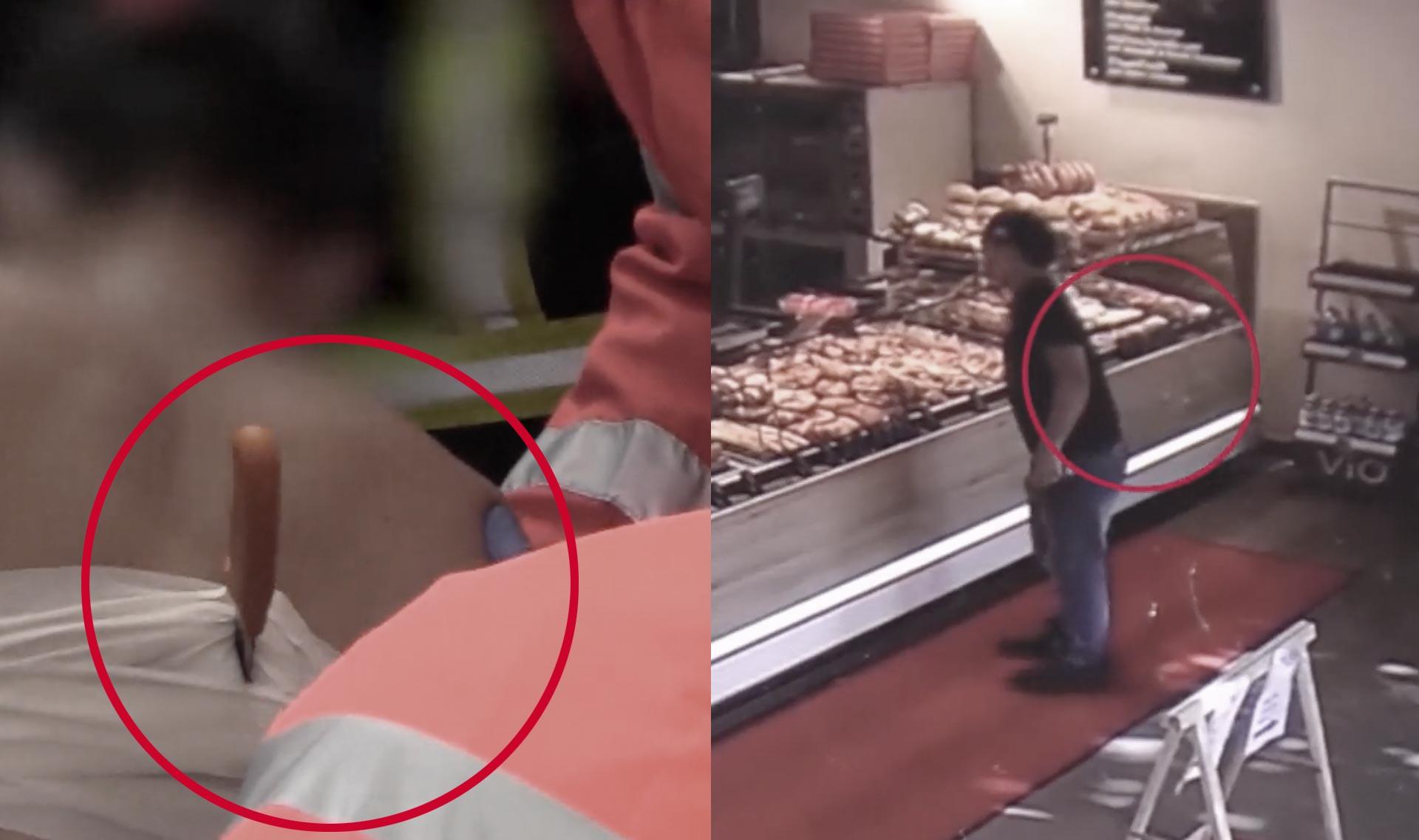 Késsel a hátában kért fánkot egy hamburgi pékségben egy férfi