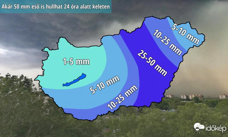 50 milliméternyi csapadék is eshet a keleti országrészben