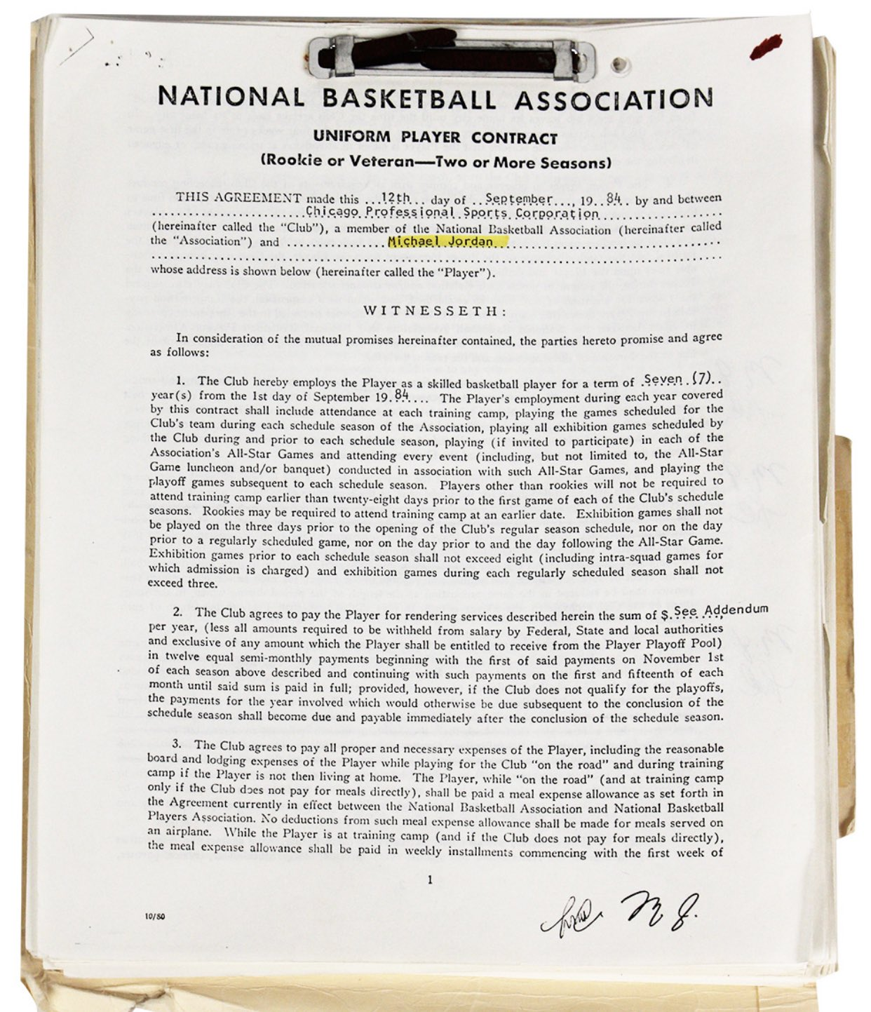 Csak másolat, de így is 57 ezer dollárt fizetett valaki Michael Jordan Bullsszal kötött szerződéséért