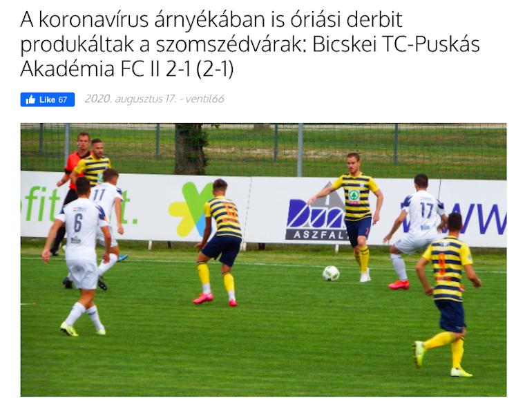 Miközben a koronavírusos csapattagok miatt elmaradt a Felcsút NB1-es meccse, a B együttesük lazán játszott Bicskén