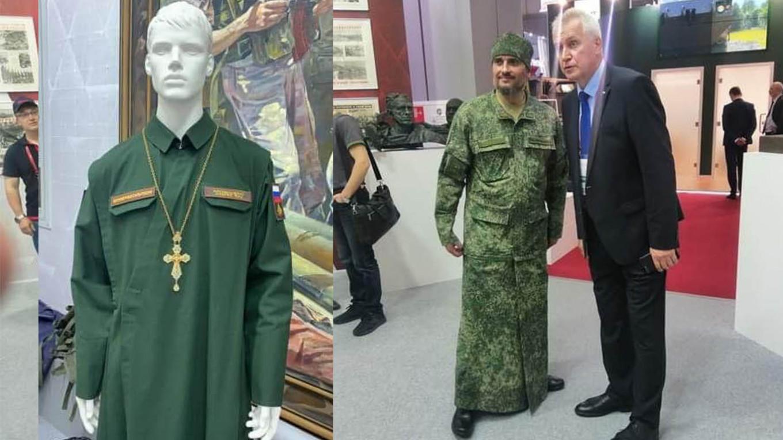 Terepmintás papi ruhát mutattak be az orosz hadsereg kiállításán