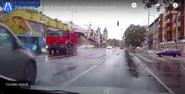 Levideózták, ahogy motorost gázolt egy kamion a Lehel téri piacnál