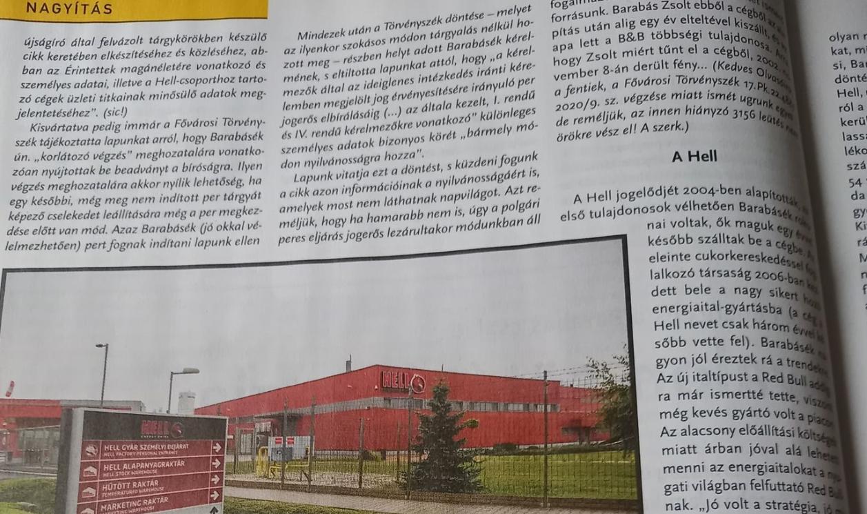 A Hell Energy tulajdonosa még a megjelenés előtt letiltatta a Magyar Narancs cikkének több részletét